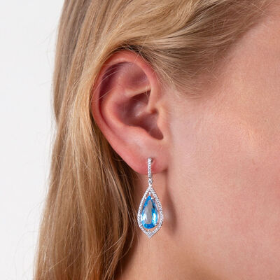 Pear Shaped Blue Topaz & Diamond Earrings 14K