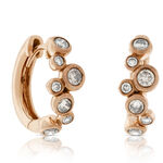 Rose Gold Brown Diamond Hoop Earrings 14K