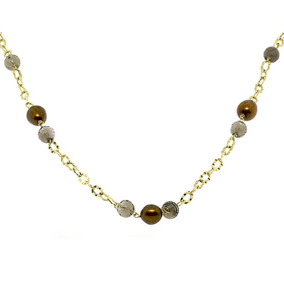 Smoky Quartz & Dyed Freshwater Cultured Pearl Necklace 14K