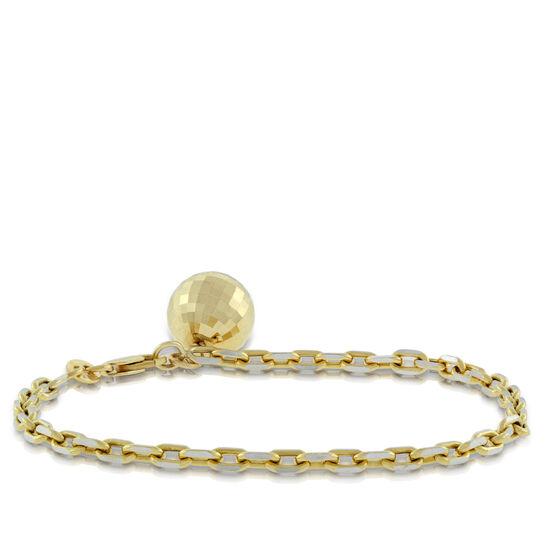 Gold Faceted Ball Bracelet 14K