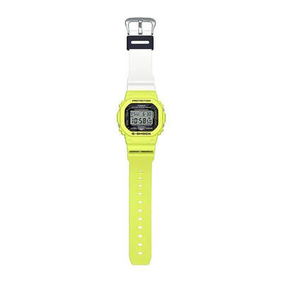 G-Shock Yellow & White Rectangular Digital Watch, 48.9mm