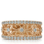 Rose Gold Diamond Floral Band 14K