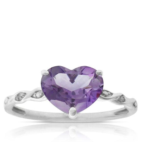 Amethyst & Diamond Heart Ring 14K