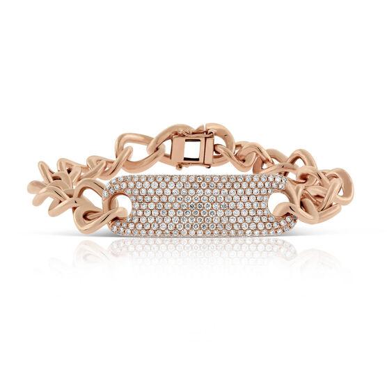 Rose Gold Curb Chain Diamond Pavé ID Bracelet 14K