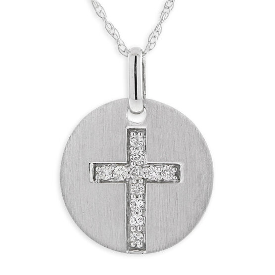 Diamond Cross Medallion Pendant 14K
