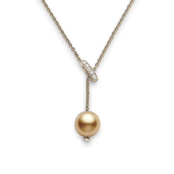 Mikimoto Golden South Sea Cultured Pearl & Diamond Necklace 18K