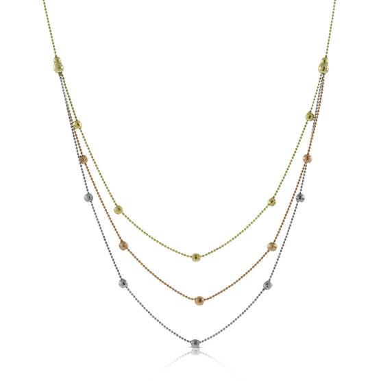 Tri-Color Bib Necklace 14K