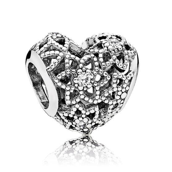 Pandora CZ Blooming Heart Charm