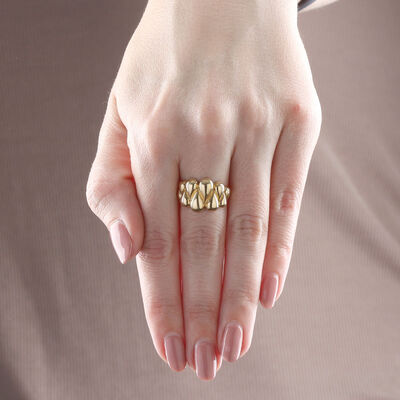 Toscano Fluted Waves Ring 14K