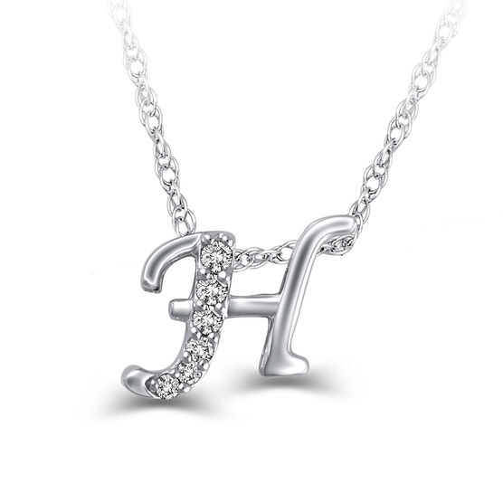 "Diamond ""H"" Initial Pendant 14K"