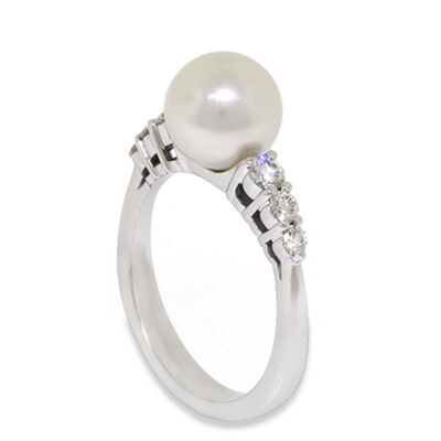 Mikimoto Akoya Cultured Pearl & Diamond Ring, 8mm, 18K