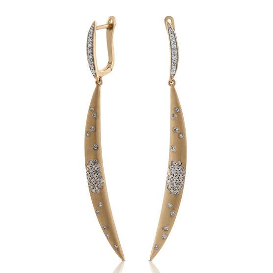Crescent Diamond Earrings 14K
