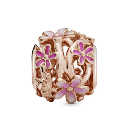 Pandora Rose™ Openwork Pink Flower Daisy Enamel & CZ Charm