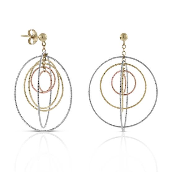 Toscano Tri-Color Circle Earrings 14K
