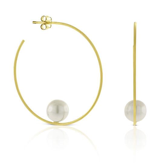 Balanced Cultured Pearl Hoop Earrings 14K