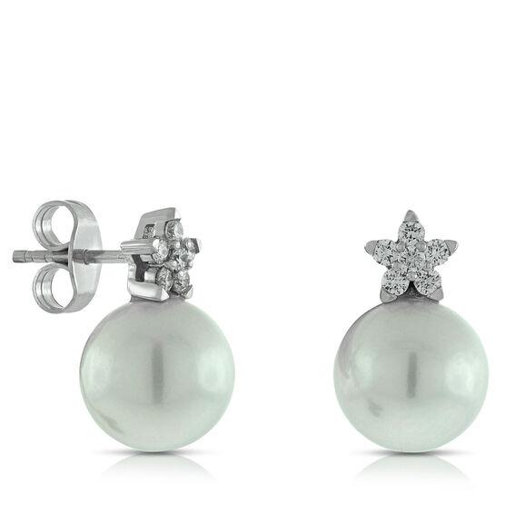 Cultured Freshwater Pearl & Diamond Flower Earrings 14K
