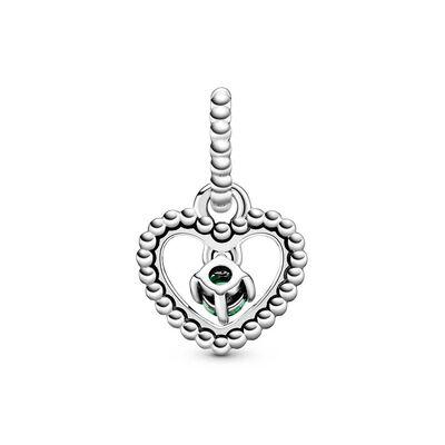 Pandora Spring Green Crystal Beaded Heart Dangle Charm