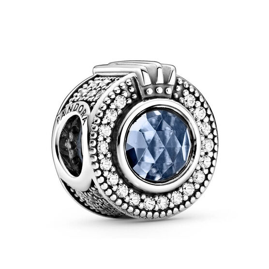 Pandora Sparkling Blue Crown O Crystal & CZ Charm