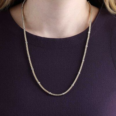Toscano Popcorn Station Necklace 14K, 24""