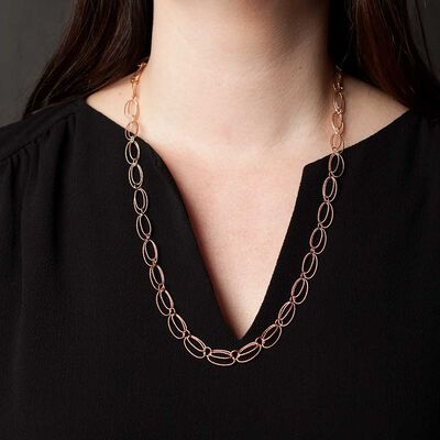 Rose Gold Toscano Double Oval Link Necklace 14K, 24""