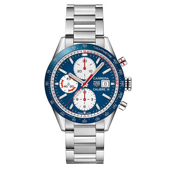 TAG Heuer Carrera Calibre 16 Automatic Mens Blue Steel Chronograph Watch