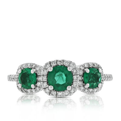 Triple Halo Emerald & Diamond Ring 14K
