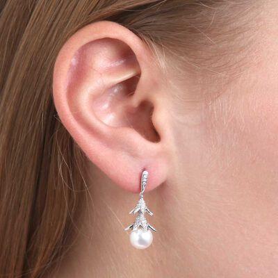 Floral Cultured Freshwater Pearl & Diamond Earrings 14K