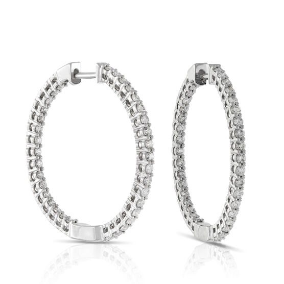 Diamond Hoop Earrings 14K, 1 ctw.