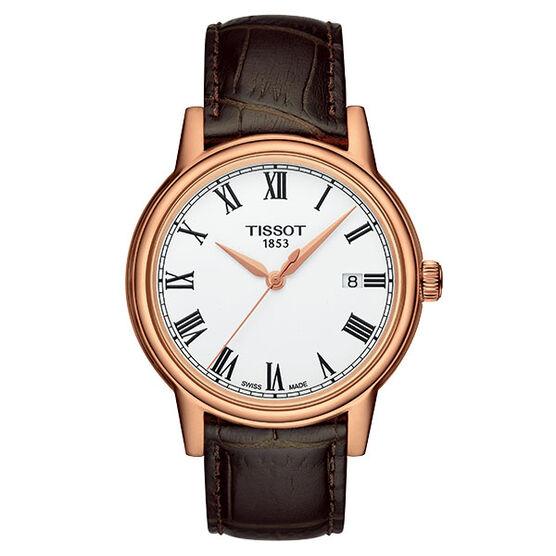 Tissot Carson Rose PVD White Dial Leather Quartz Watch, 39mm
