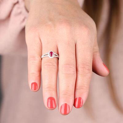 Ruby & Diamond Split Shank Ring 14K