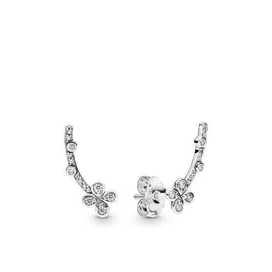 PANDORA Draped Four Petal Flower CZ Earrings