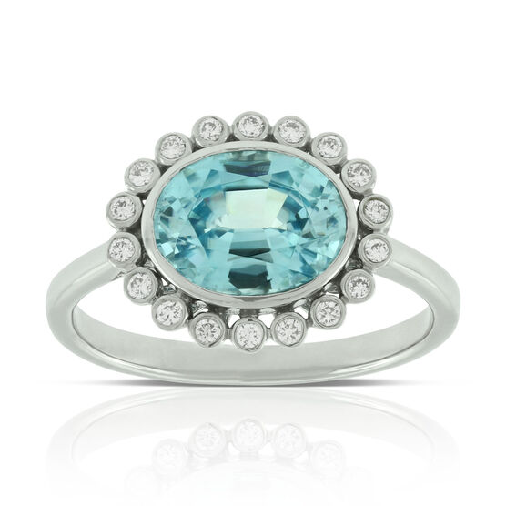Blue Zircon & Diamond Ring 14K