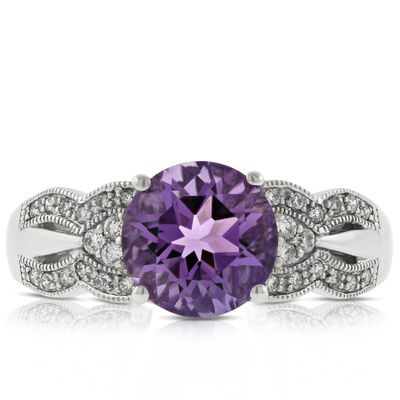 Amethyst, Diamond & Tourmaline Ring 14K