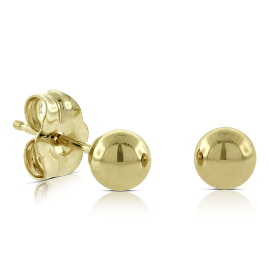 Yellow Gold Ball Earrings 14K, 4mm