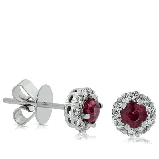Halo Ruby & Diamond Earrings 14K