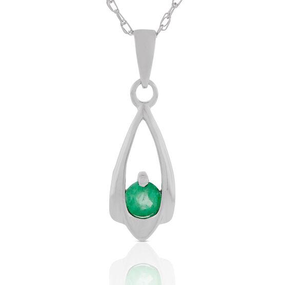 Emerald Teardrop Pendant Necklace 14K