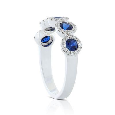 Round 5-Stone Sapphire & Diamond Halo Ring 14K