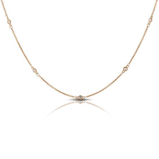 Rose Gold Diamond Station Necklace 14K, 1/3 ctw.