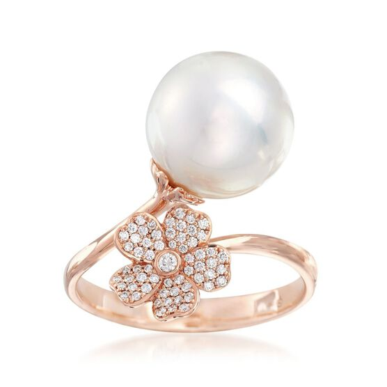 Mikimoto Rose Gold Cultured South Sea Pearl & Diamond Cherry Blossom Ring 18K