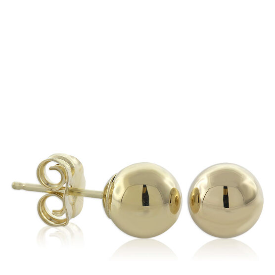 Gold Stud Earrings 14K, 6mm