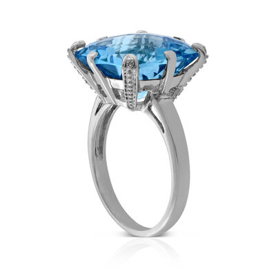 Checkerboard Blue Topaz & Diamond Ring 14K
