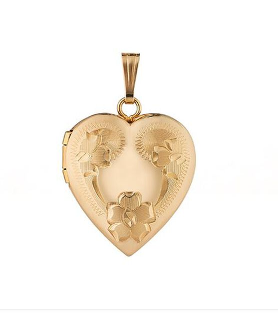 Hand Engraved Roses Heart Locket 14K