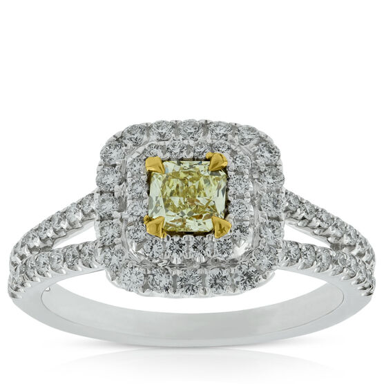 Radiant Cut Yellow Diamond Ring 18K