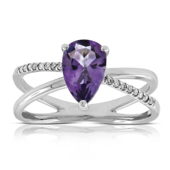 Criss Cross Amethyst & Diamond Ring 14K