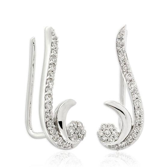 Diamond Swirl Earclimbers 14K