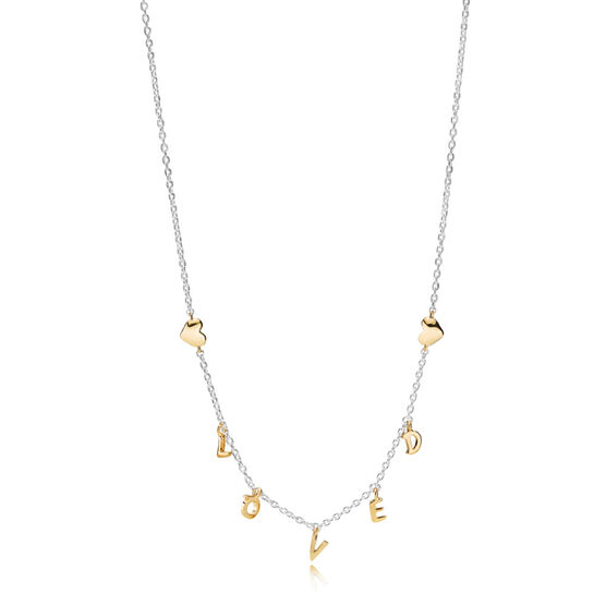 PANDORA Loved Script Necklace, PANDORA Shine™ & Silver
