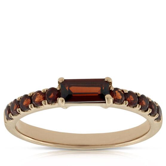 Rose Gold Garnet Ring 14K