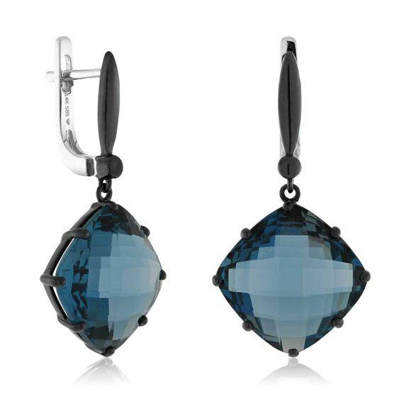Checkered Blue Topaz Dangle Earrings 14K