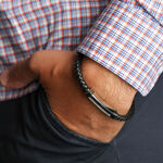 "Men's Bracelet - Leather, Steel & Diamond,  8.5"""