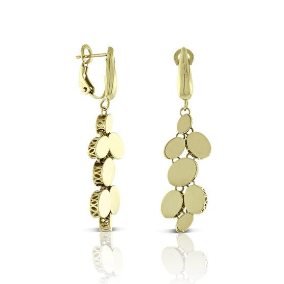 Toscano Mirrored Oval Disc Dangle Earrings 14K